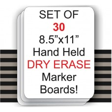 "Set of 30 8.5""X 11"" Compact Hand Held Dry Erase Board Signs"