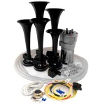 Dixie Black Automotive Air Horn - Complete Kit