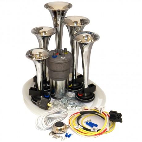 Dixie Chrome Automotive Air Horn - Complete Kit