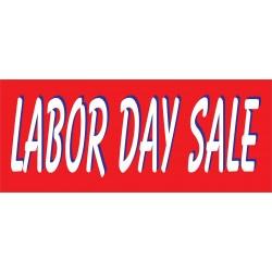 Labor Day Sale Red & White 2.5' x 6' Vinyl Business Banner