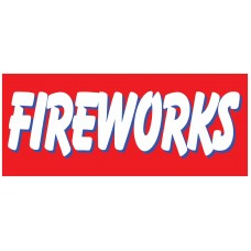 Fireworks Red 2.5' x 6' Vinyl Business Banner
