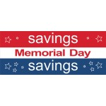 Memorial Day Savings Stars 2.5' x 6' Vinyl Business Banner