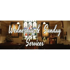 Wednesday & Sunday Services 2.5' x 6' Vinyl Church Banner