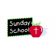 Sunday School Apple 2.5' x 6' Vinyl Church Banner