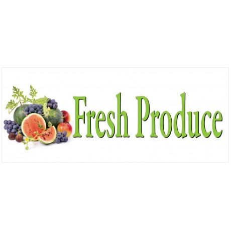 Fresh Produce Fruit 2.5' x 6' Vinyl Banner