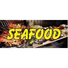 Seafood Wave Shrimp 2.5' x 6' Vinyl Business Banner