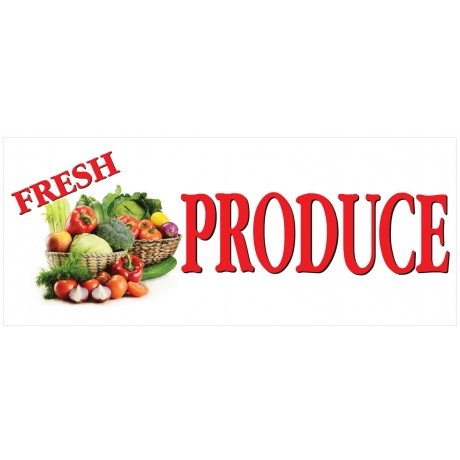 Fresh Veggies Produce 2.5' x 6' Vinyl Business Banner