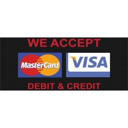 Visa Mastercard Black 2.5' x 6' Vinyl Business Banner