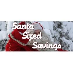 Santa Size Savings 2.5' x 6' Vinyl Business Banner