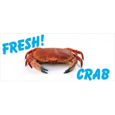 Fresh Crab White 2.5' x 6' Vinyl Business Banner