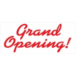 Grand Opening Red Curves 2.5' x 6' Vinyl Business Banner