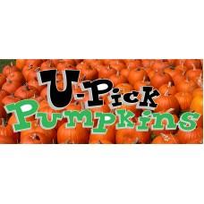 Halloween U Pick Pumpkins 2.5' x 6' Vinyl Business Banner