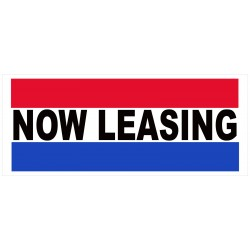 Now Leasing Patriotic 2.5' x 6' Vinyl Business Banner
