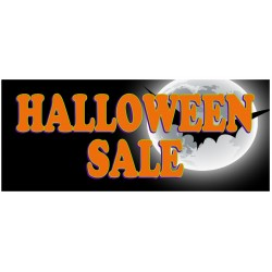 Halloween Sale Full Moon 2.5' x 6' Vinyl Business Banner