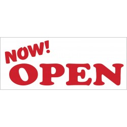 Now Open White 2.5' x 6' Vinyl Business Banner