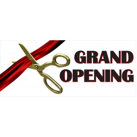 Grand Opening Ribbon 2.5' x 6' Vinyl Business Banner