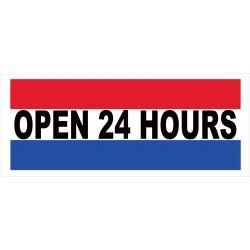 Open 24 Hours 2.5' x 6' Vinyl Business Banner