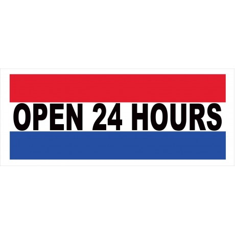 Open 24 Hours 2.5' x 6' Vinyl Business Banner