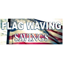 Holiday Flag Waving Savings 2.5' x 6' Vinyl Business Banner