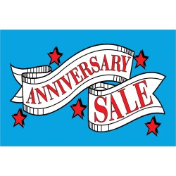 Anniversary Sale Red Stars 2' x 3' Vinyl Business Banner