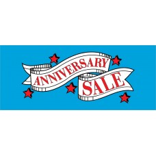 Anniversary Sale Red Stars 2.5' x 6' Vinyl Business Banner