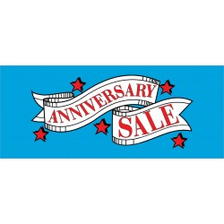 Anniversary Sale Red Stars 2.5' x 6' Vinyl Business Banner