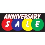 Anniversary Sale Black 2.5' x 6' Vinyl Business Banner