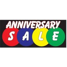 Anniversary Sale Black 2.5' x 6' Vinyl Business Banner