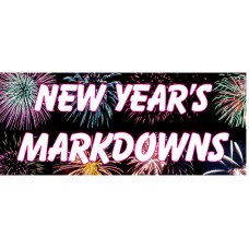 New Year Markdowns 2.5' x 6' Vinyl Business Banner