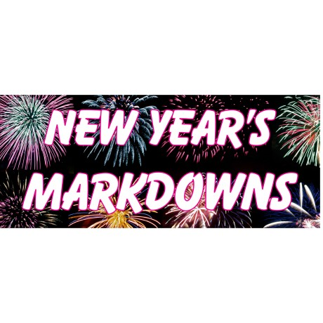 New Year Markdowns 2.5' x 6' Vinyl Business Banner