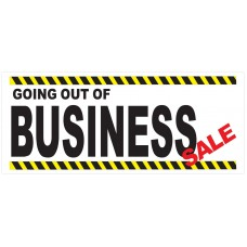 Going Out Of Business Sale Yellow Bars 2.5' x 6' Vinyl Business Banner