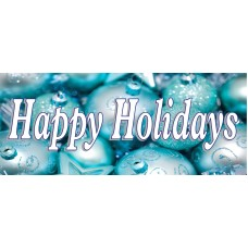 Happy Holidays Ornaments 2.5' x 6' Vinyl Business Banner