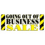 Going Out Of Business Sale Yellow Signs 2.5' x 6' Vinyl Business Banner