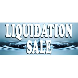 Liquidation Sale Blue 2.5' x 6' Vinyl Business Banner