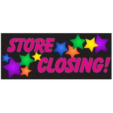Store Closing Stars 2.5' x 6' Vinyl Business Banner