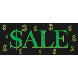Sale Dollar Signs 2.5' x 6' Vinyl Business Banner
