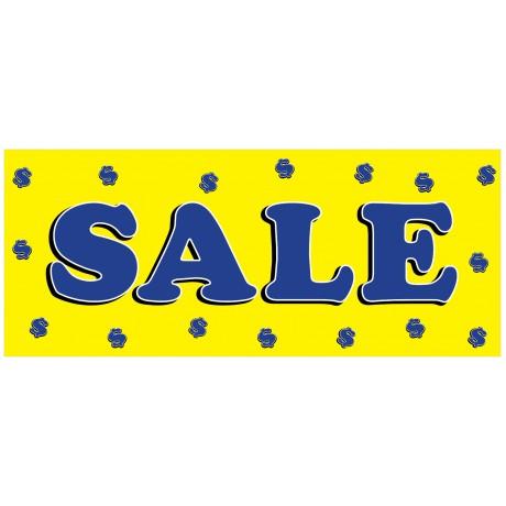 Sale Dollar Signs Yellow 2.5' x 6' Vinyl Business Banner