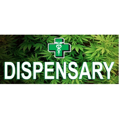 Dispensary Leaves 2.5' x 6' Vinyl Banner