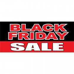 Black Friday Sale Black Red 2.5' x 6' Vinyl Business Banner