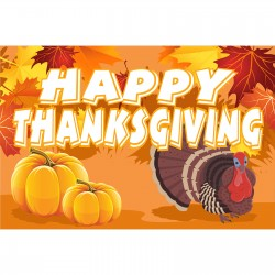Happy Thanksgiving 2' x 3' Vinyl Banner