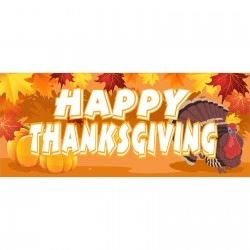 Happy Thanksgiving 2.5' x 6' Vinyl Banner