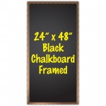 "24"" x 48"" Wood Framed Black Chalkboard Sign"