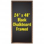 """24"""" x 48"""" Wood Framed Black Chalkboard Sign"""