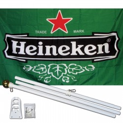 Heineken Beer 3' x 5' Polyester Flag, Pole and Mount