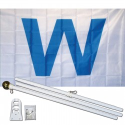 Wrigley Field Light Blue W 3' x 5' Polyester Flag, Pole and Mount