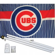 Chicago Cubs 3' x 5' Polyester Flag, Pole and Mount