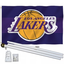 Los Angeles Lakers 3' x 5' Polyester Flag, Pole and Mount