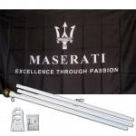 Maserati Black 3' x 5' Polyester Flag, Pole and Mount