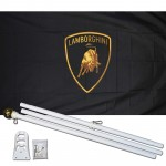 Lamborghini Black 3' x 5' Polyester Flag, Pole and Mount