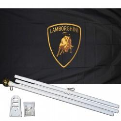 Lamborghini Black 3' x 5' Polyester Flag, Pole and Mount